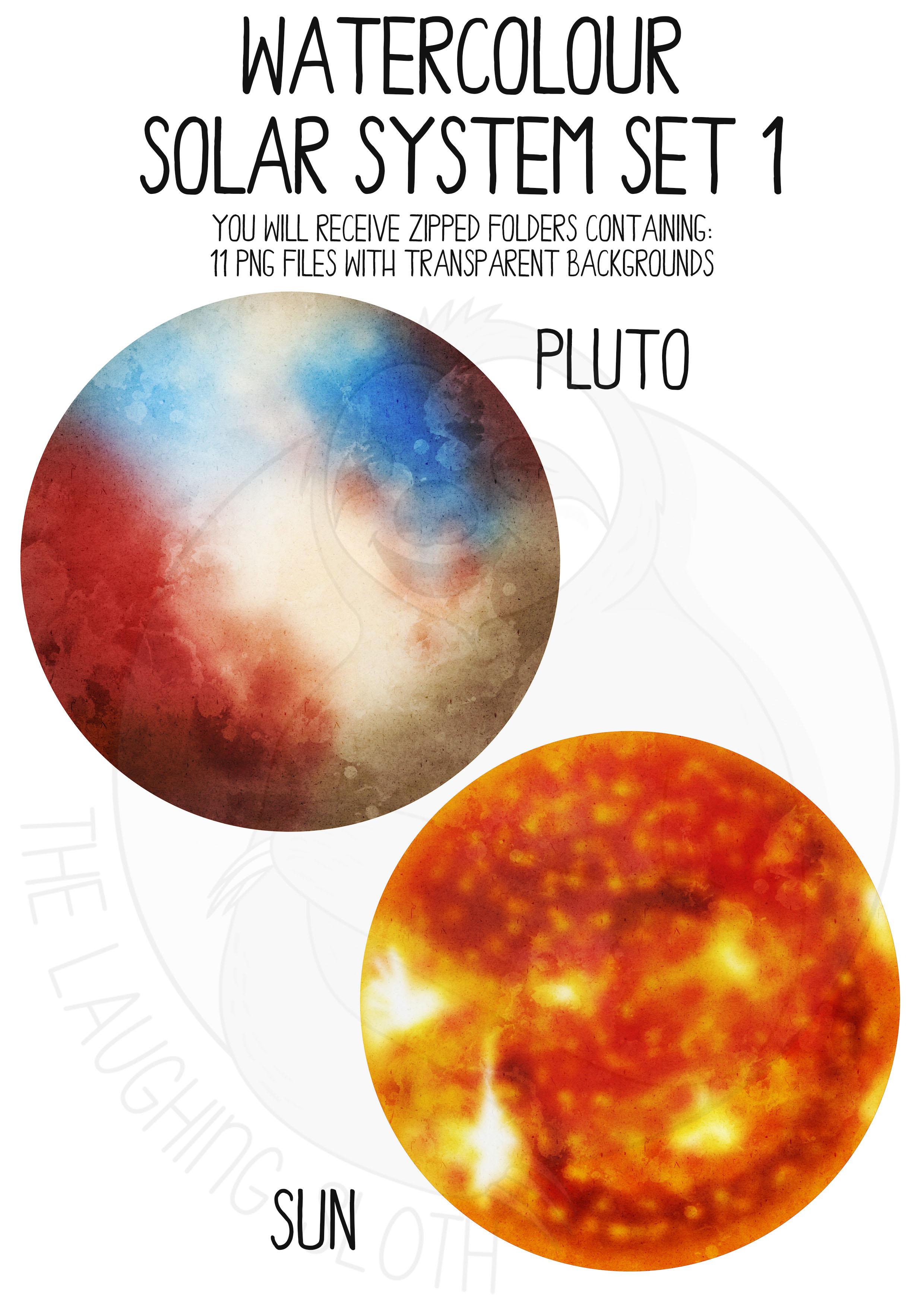 Watercolor Solar System Clip Art Set example image 5