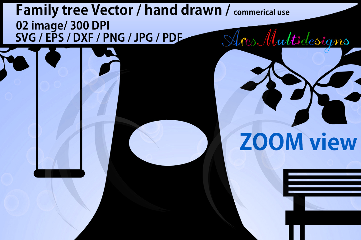 family tree clipart SVG, EPS, Dxf, Png, Pdf, Jpg / family tree silhouette / hand drawn family tree svg / vector / Commerical & personal use example image 4