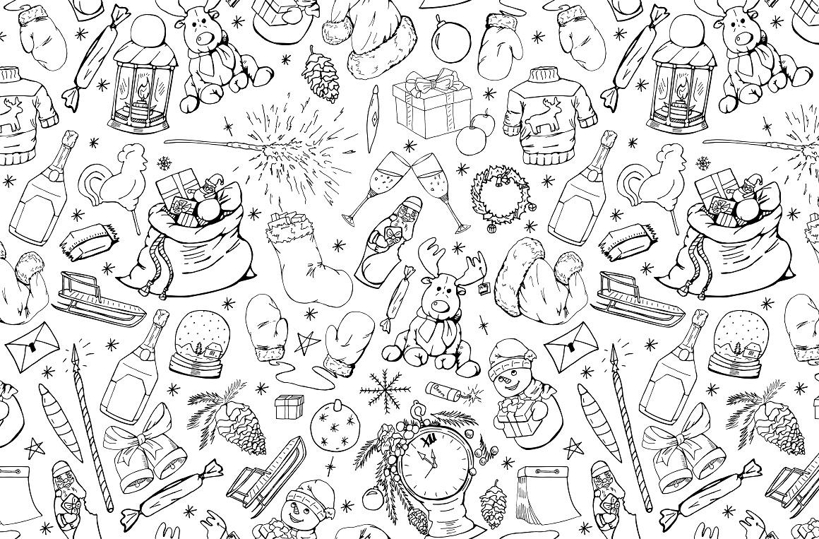 Christmas doodle set + patterns example image 6