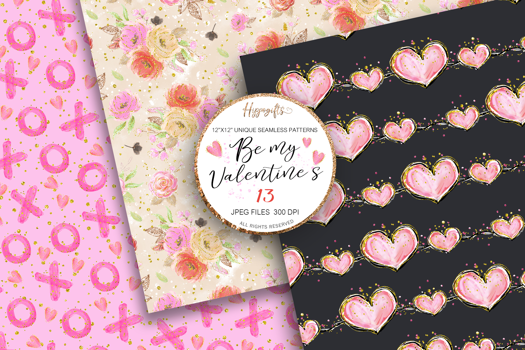 Valentine's patterns,Animal love,Love is in the air example image 7