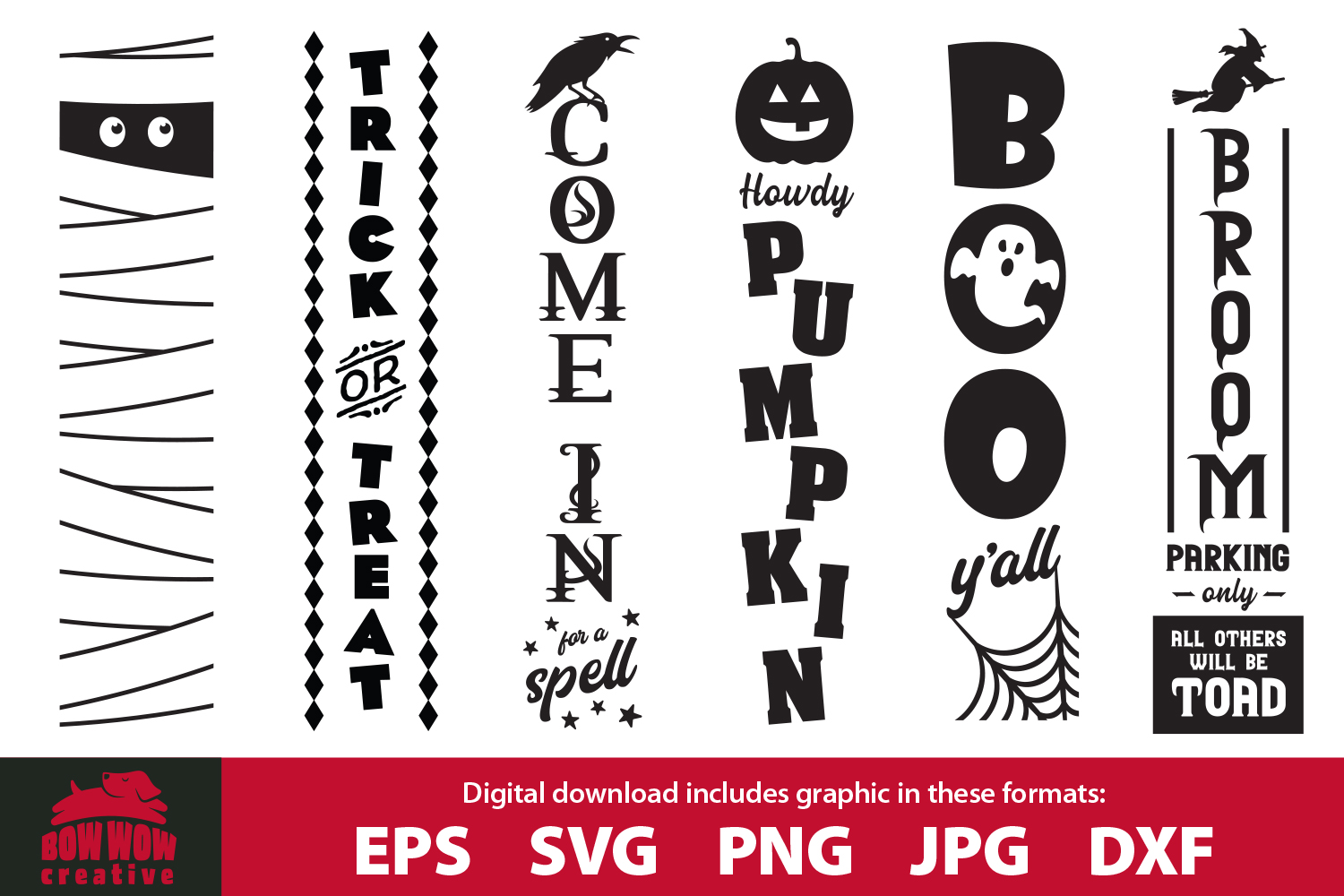 Halloween / Fall porch sign bundle - SVG, EPS, JPG, PNG, DXF example image 1