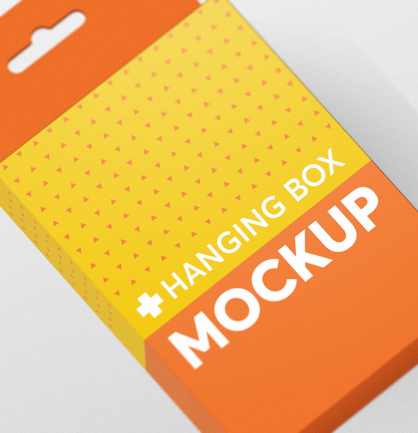 Flat Rectangle Box with Hanger Mockup example image 12