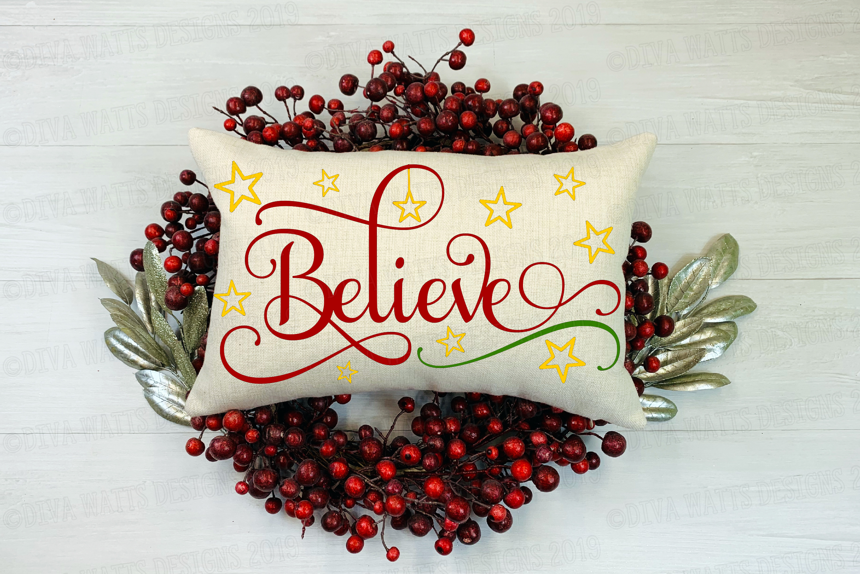 Believe Layered Christmas Cutting File example image 1