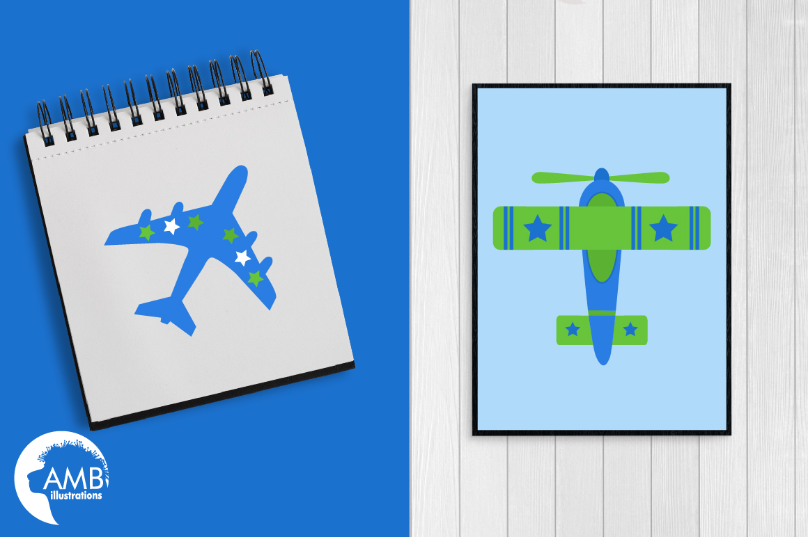 Airplane clipart, Airplane graphics, Biplane, Plane clipart, graphics, illustrations AMB-2270 example image 4