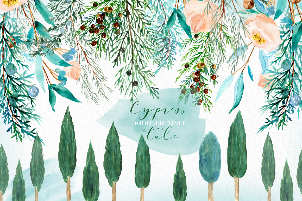 Cypress tale. Watercolor clipart. Cypress christmas branches example image 9