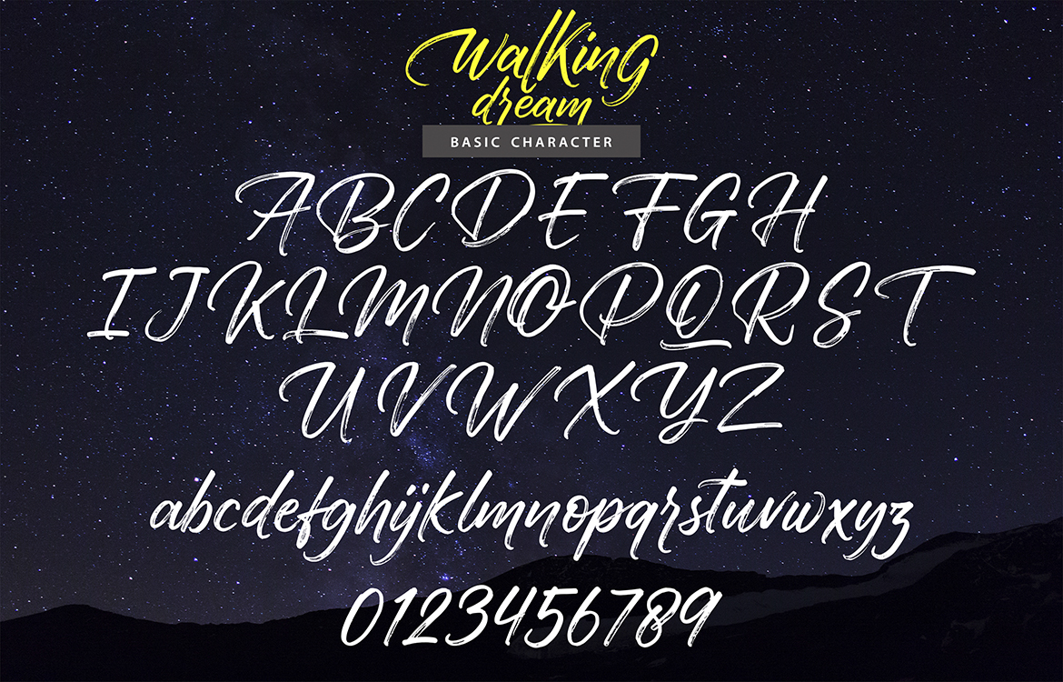 Walking Dream | A Handcrafted Drybrush Lettering Script Font example image 7