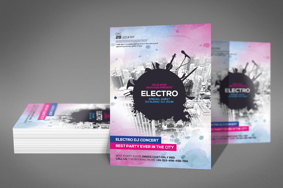 Electro Dj Flyer Template example image 2