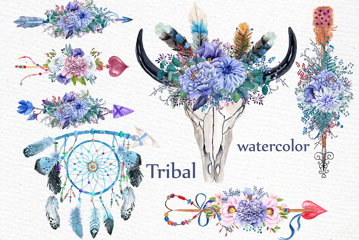 Watercolor tribal clipart example image 1
