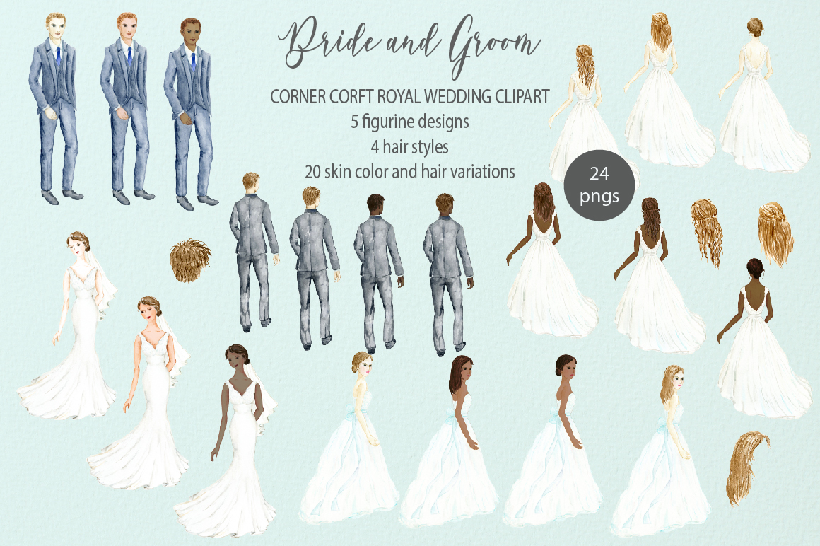 Bride and Groom Figurine Royal Wedding Clipart example image 2