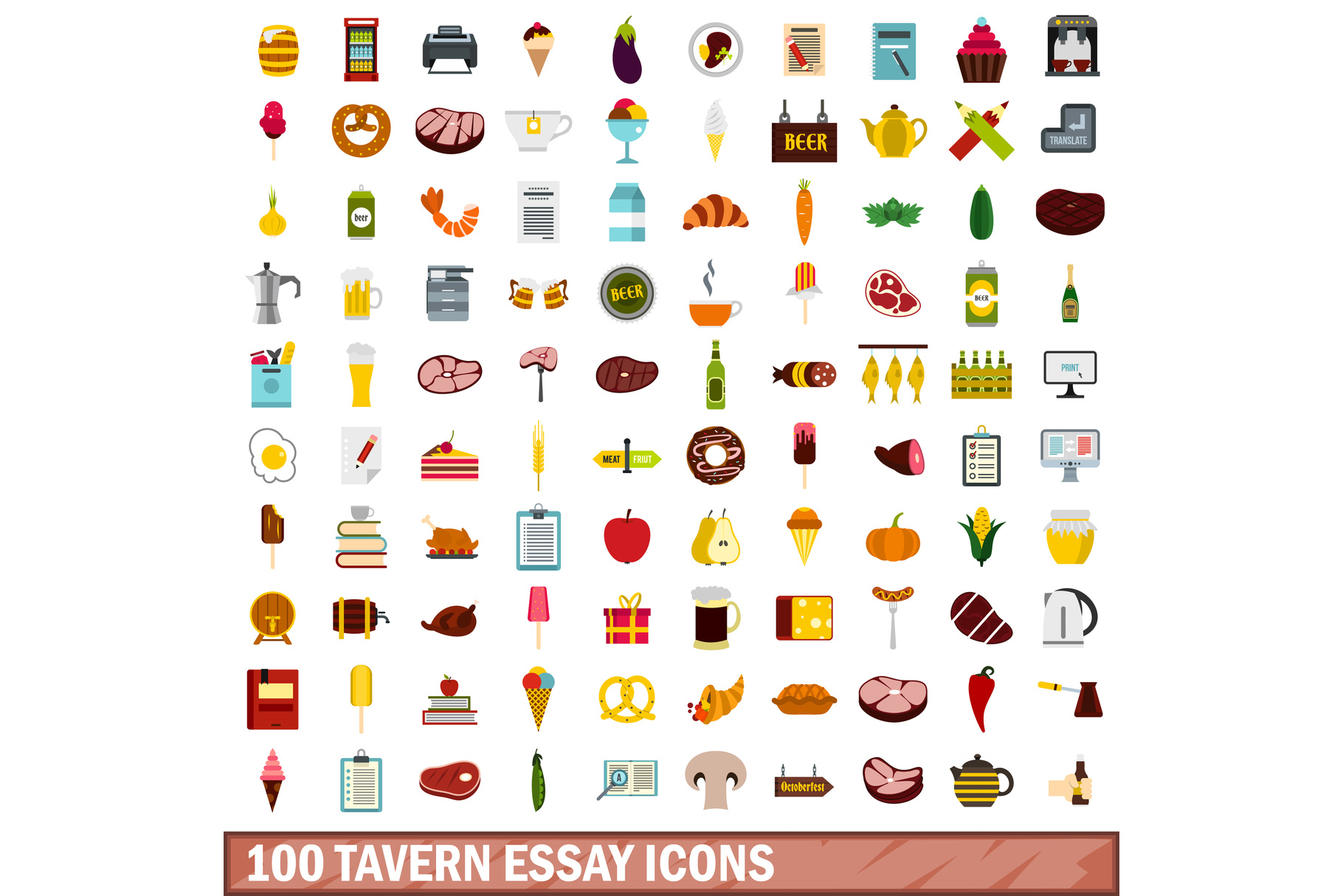 100 tavern essay icons set, flat style example image 1