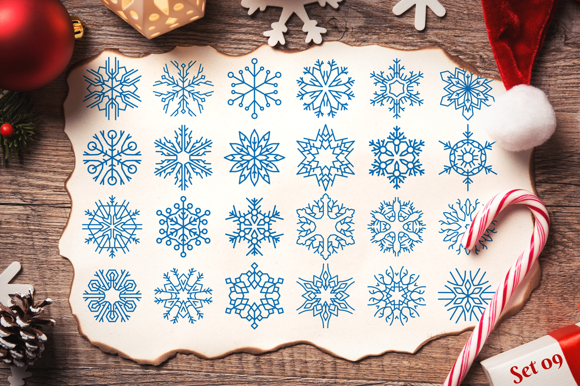 500 Snowflake Vector Ornaments example image 20