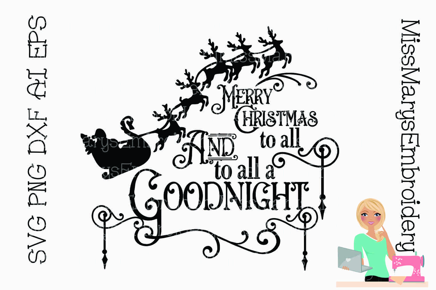 Merry Christmas Saying SVG Cutting File PNG DXF AI example image 1