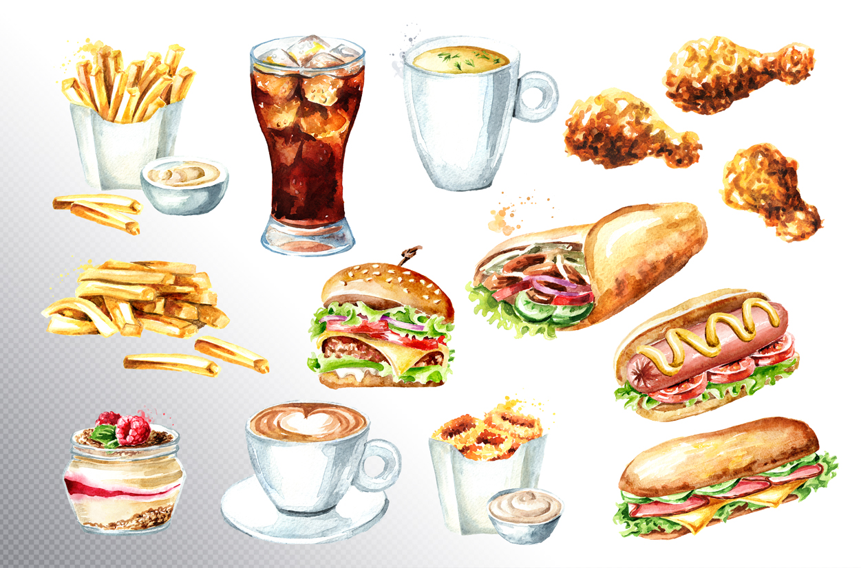 Fast food watercolor collection example image 2