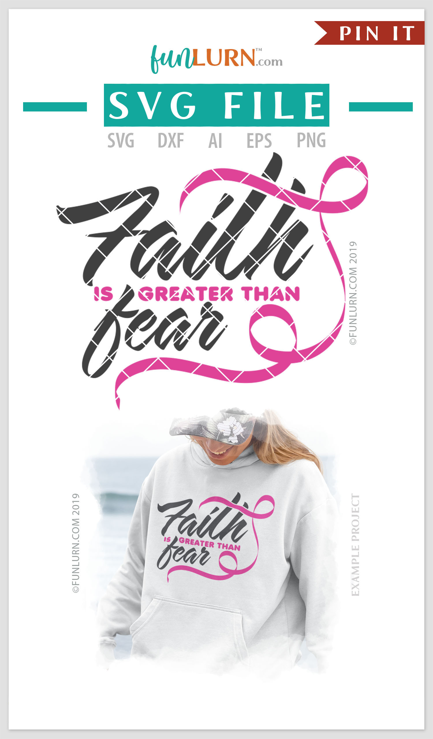 Faith is Greater Than Fear Pink Ribbon SVG Cut File example image 4