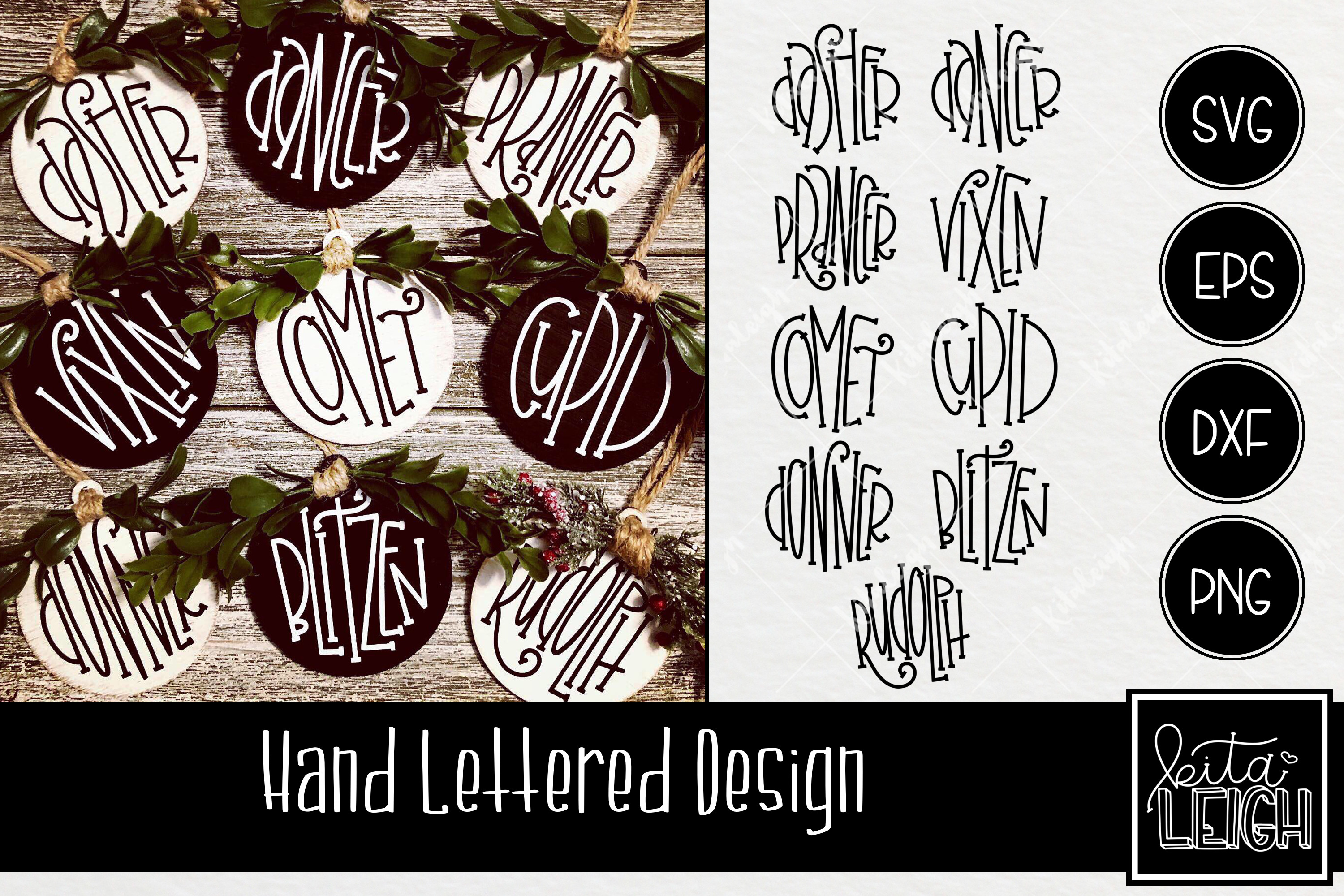 Reindeer Names Christmas Hand Lettered Rounds SVG example image 1
