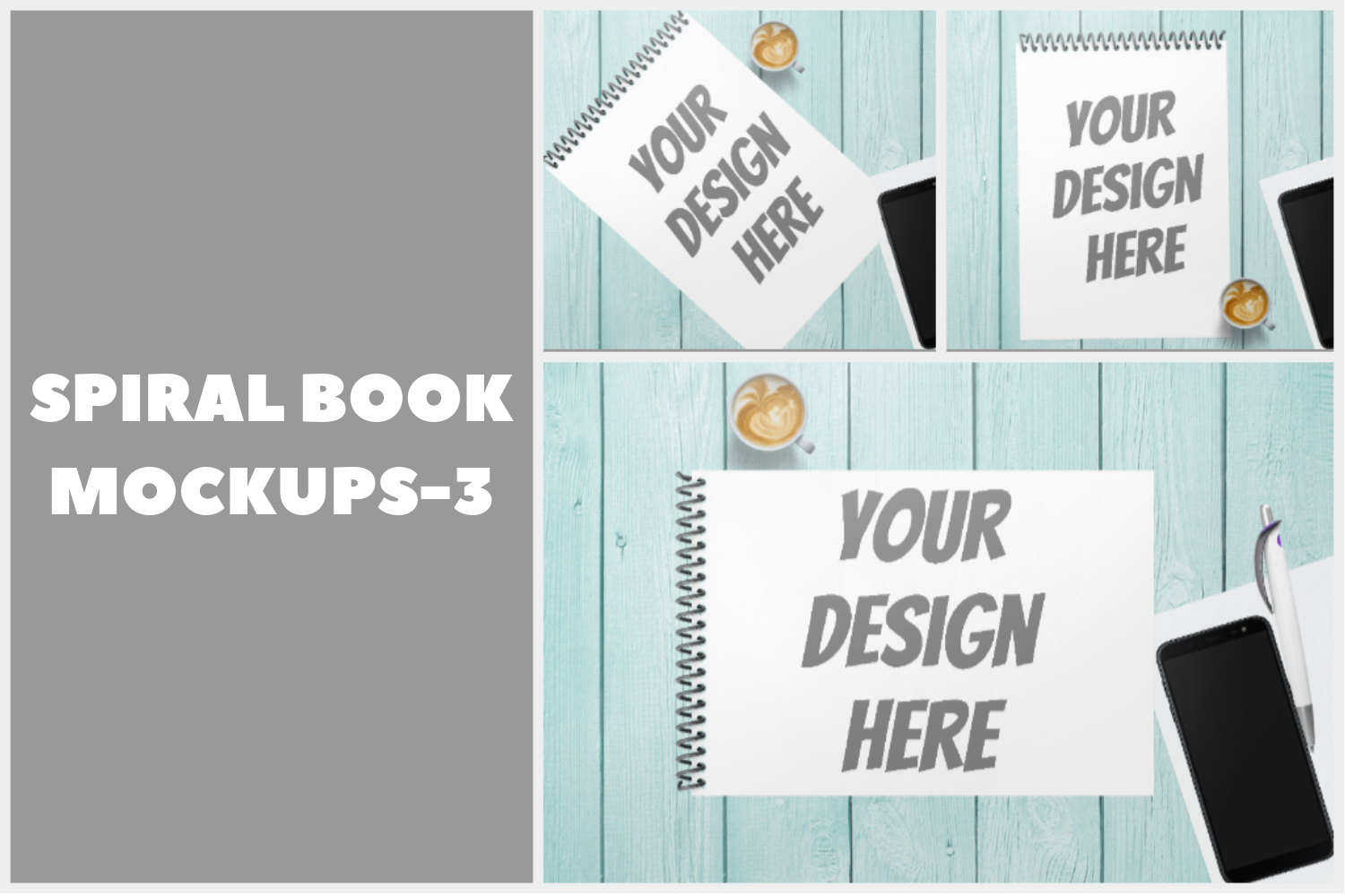 Spiral Note Book Mockup - 3 |PNG | W4000XH2667 example image 1