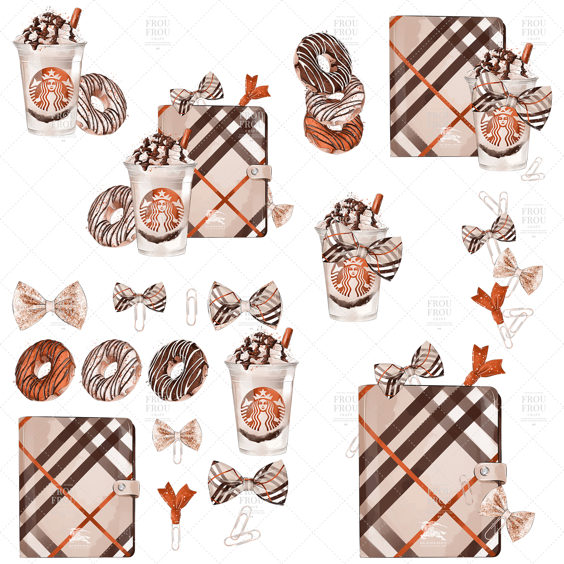 Coffee Lover Milkshake Donut Fall Autumn Clip Art example image 6