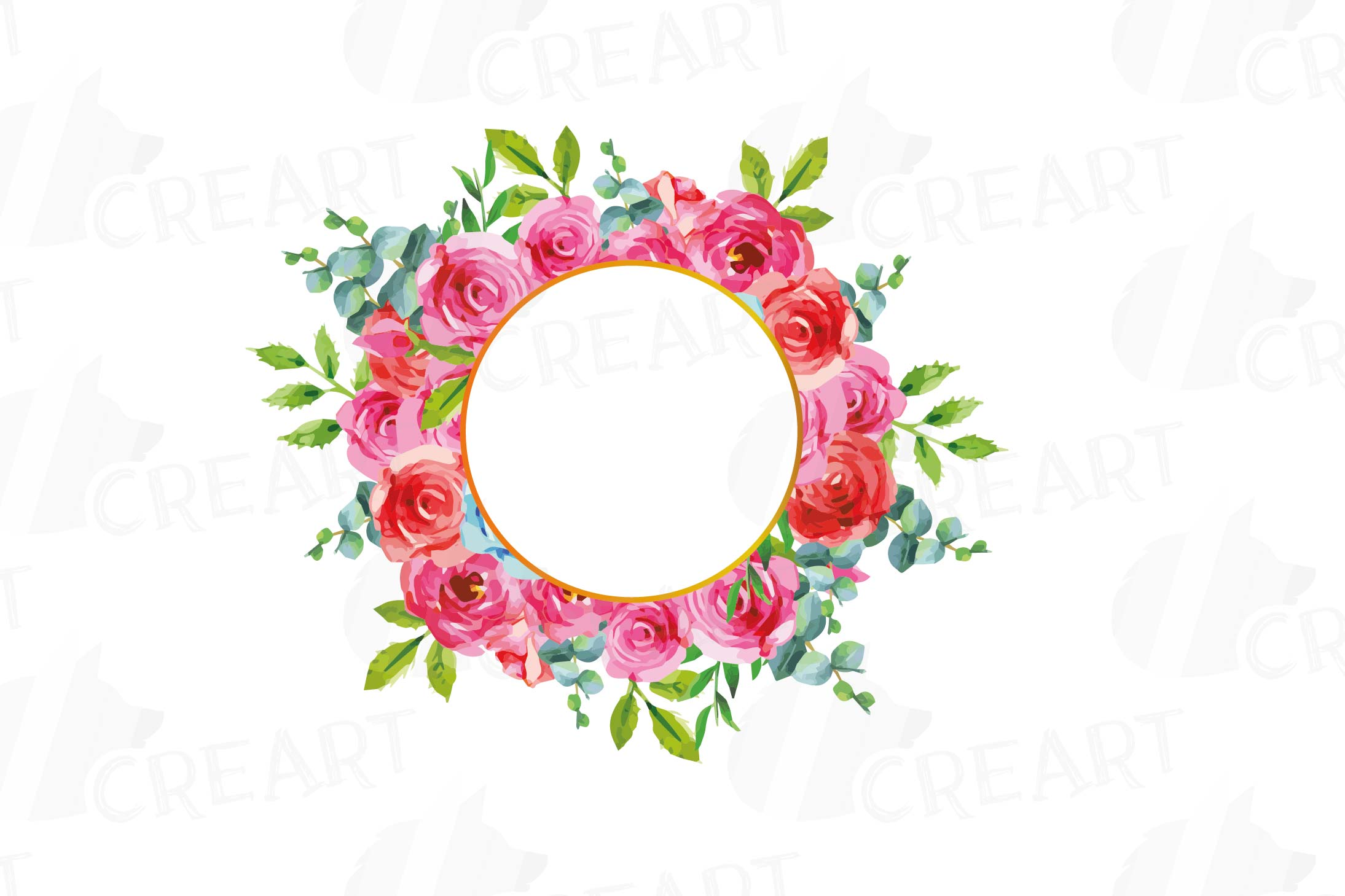 Boho pink and blue floral frames watercolor clip art pack example image 11