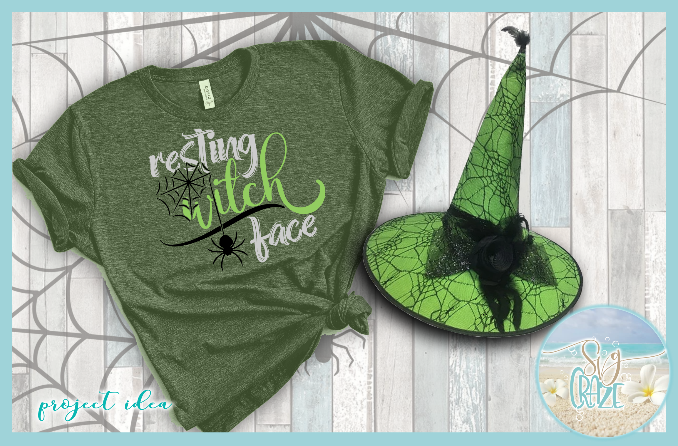 Resting Witch Face with Spider Web SVG example image 2