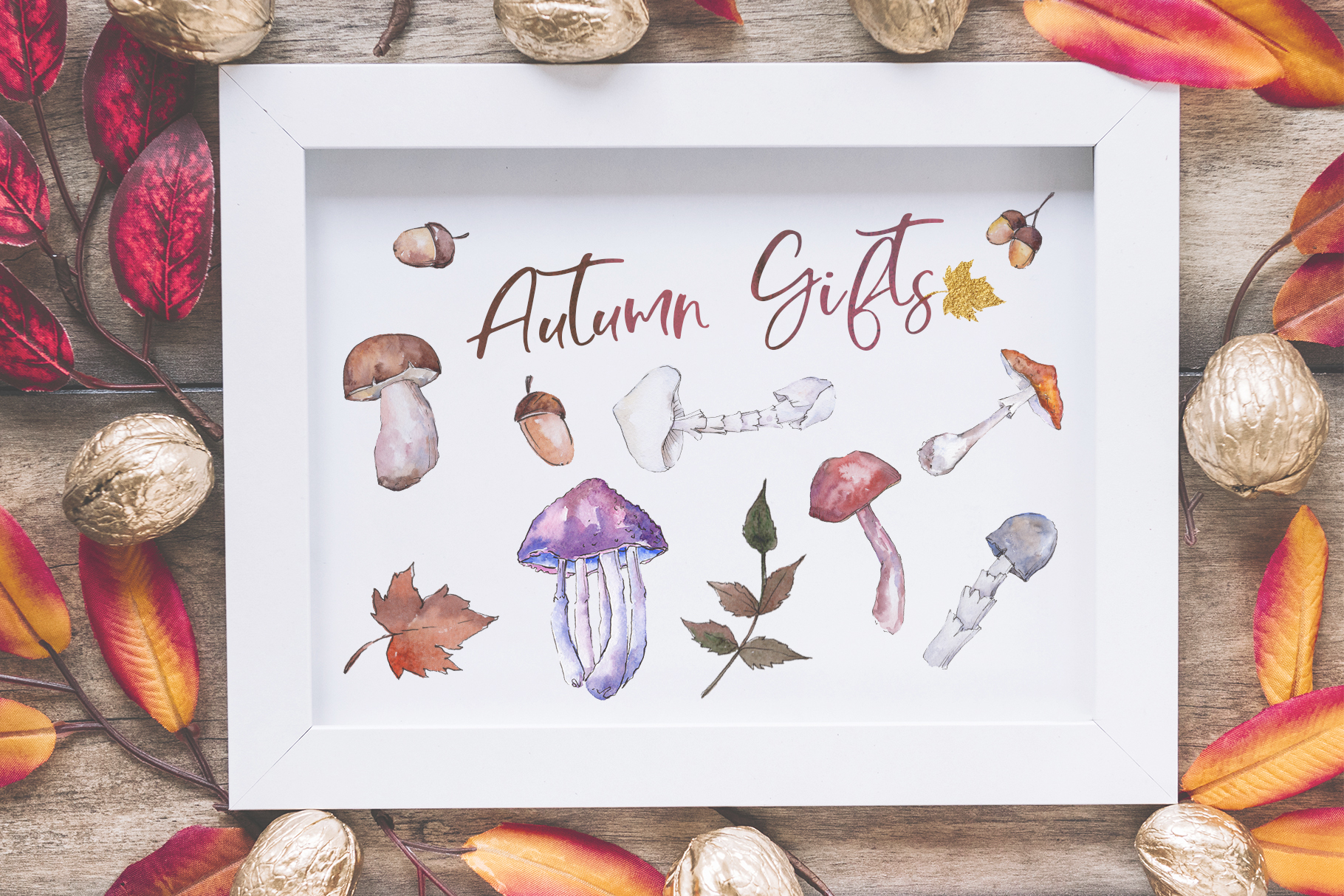 Gifts of autumn PNG watercolor set example image 2