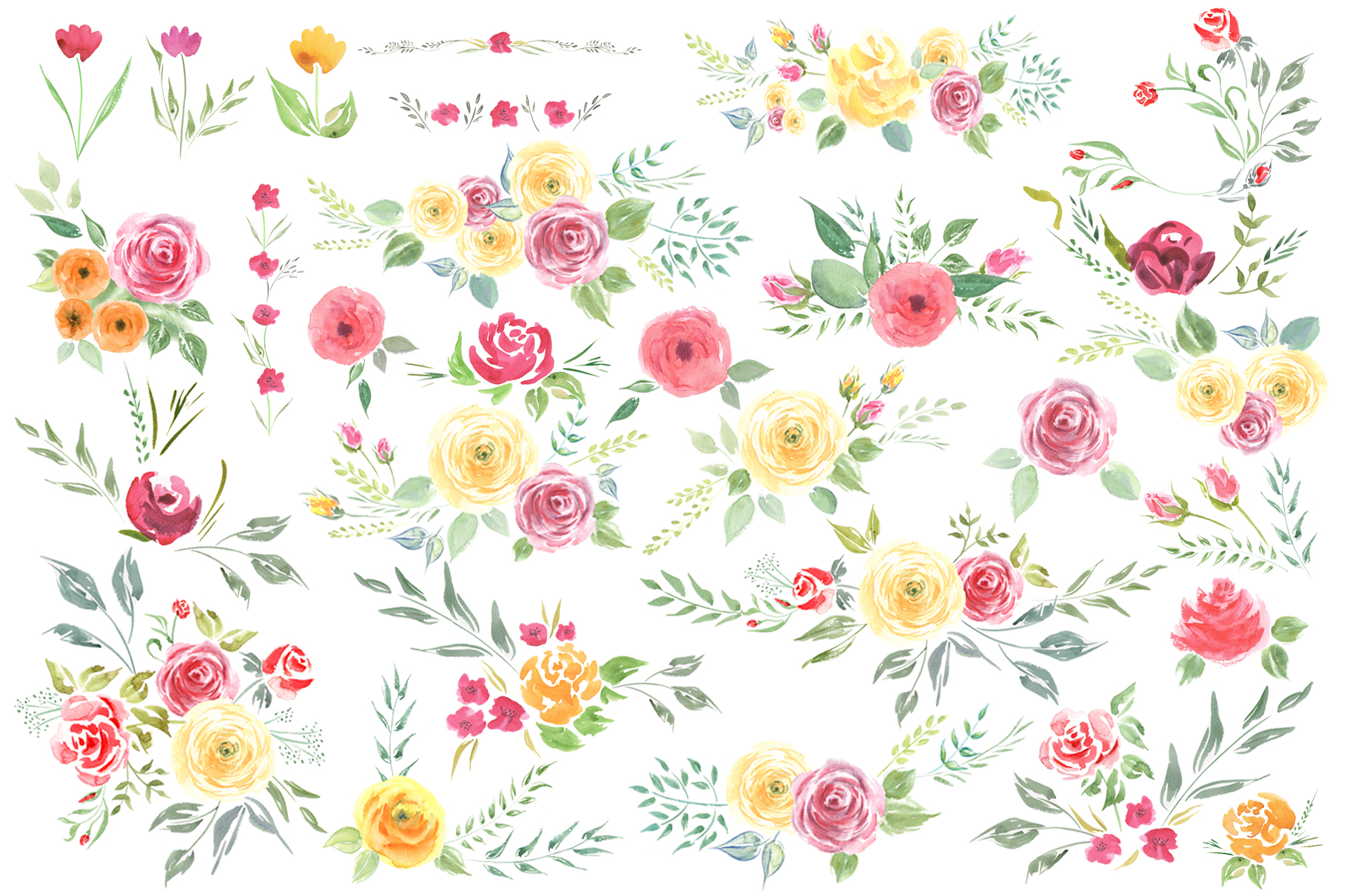 Queen of Flowers watercolor collection example image 15