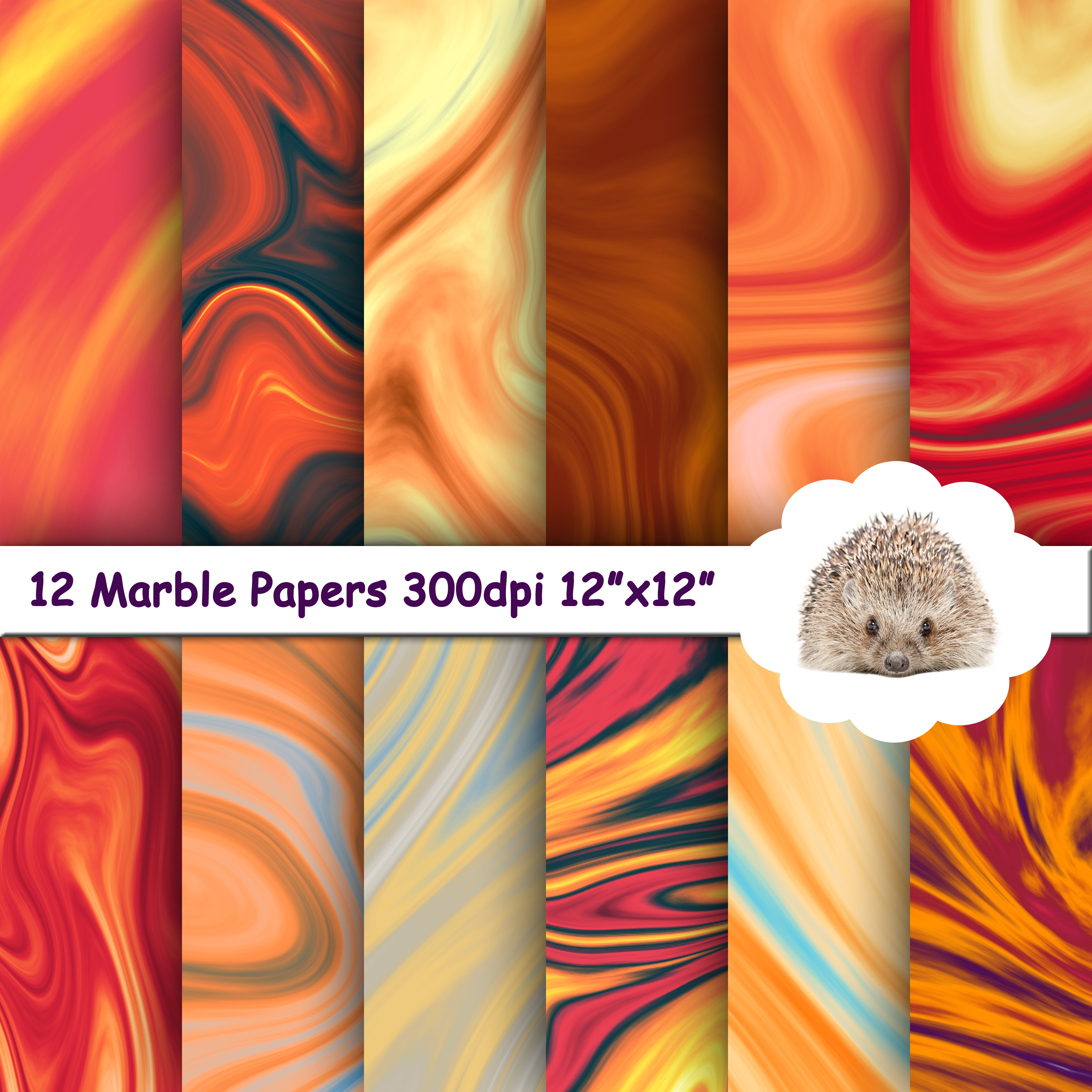 12 Orange Marble Textures / Backgrounds / Papers example image 1