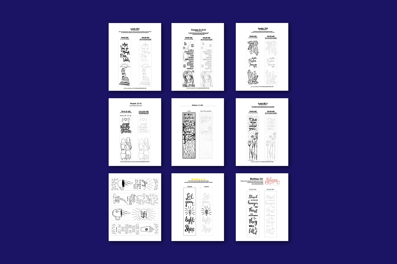 Bible Journaling Coloring Template - MEGA BUNDLE 12 Designs example image 2
