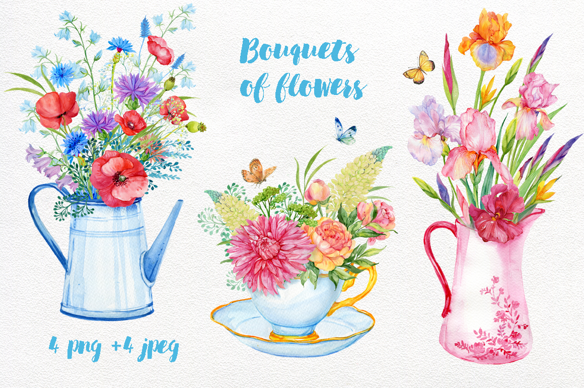 Bouquets of flowers watercolor example image 1