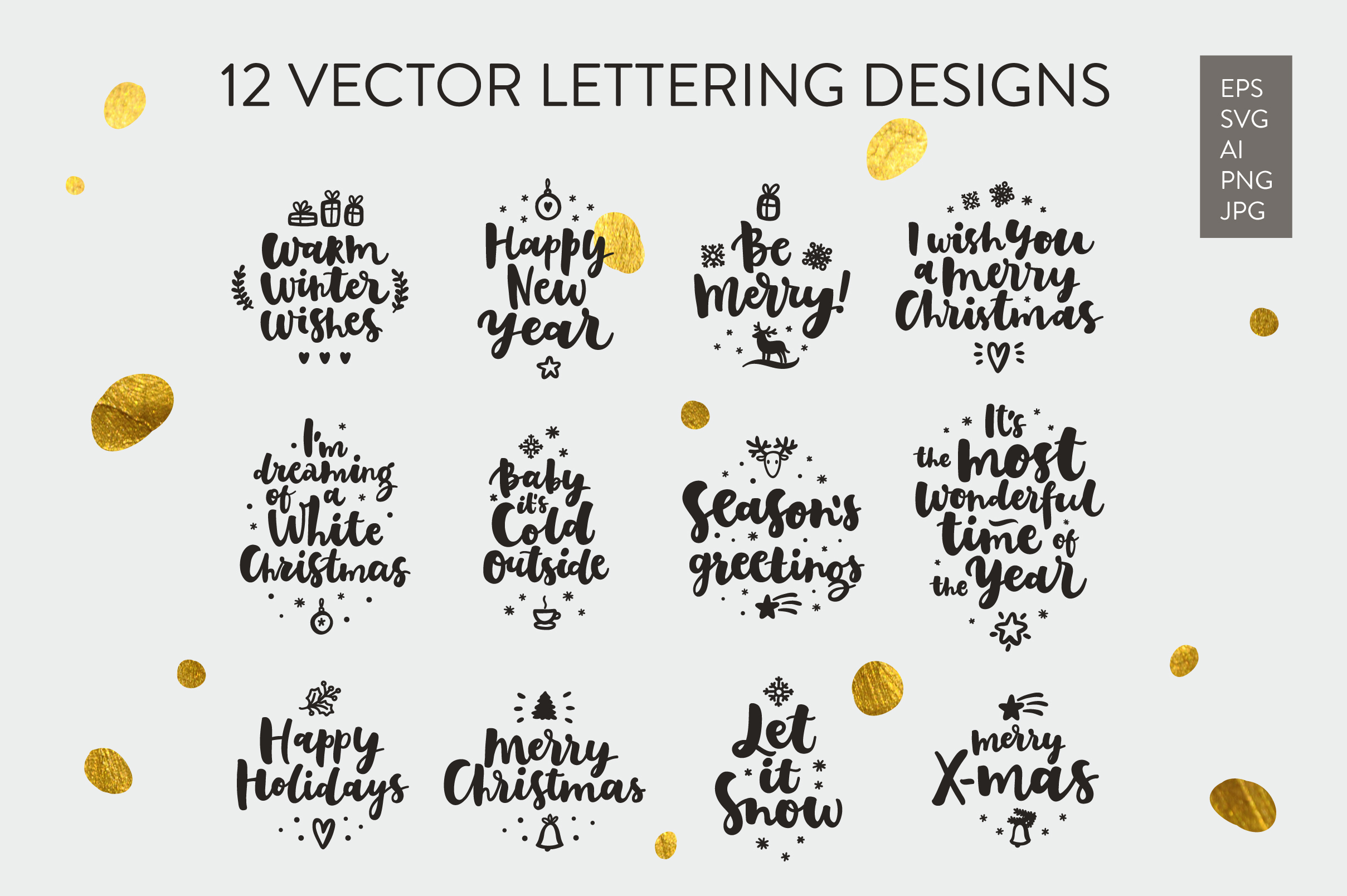 Merry Christmas Vector Set example image 9