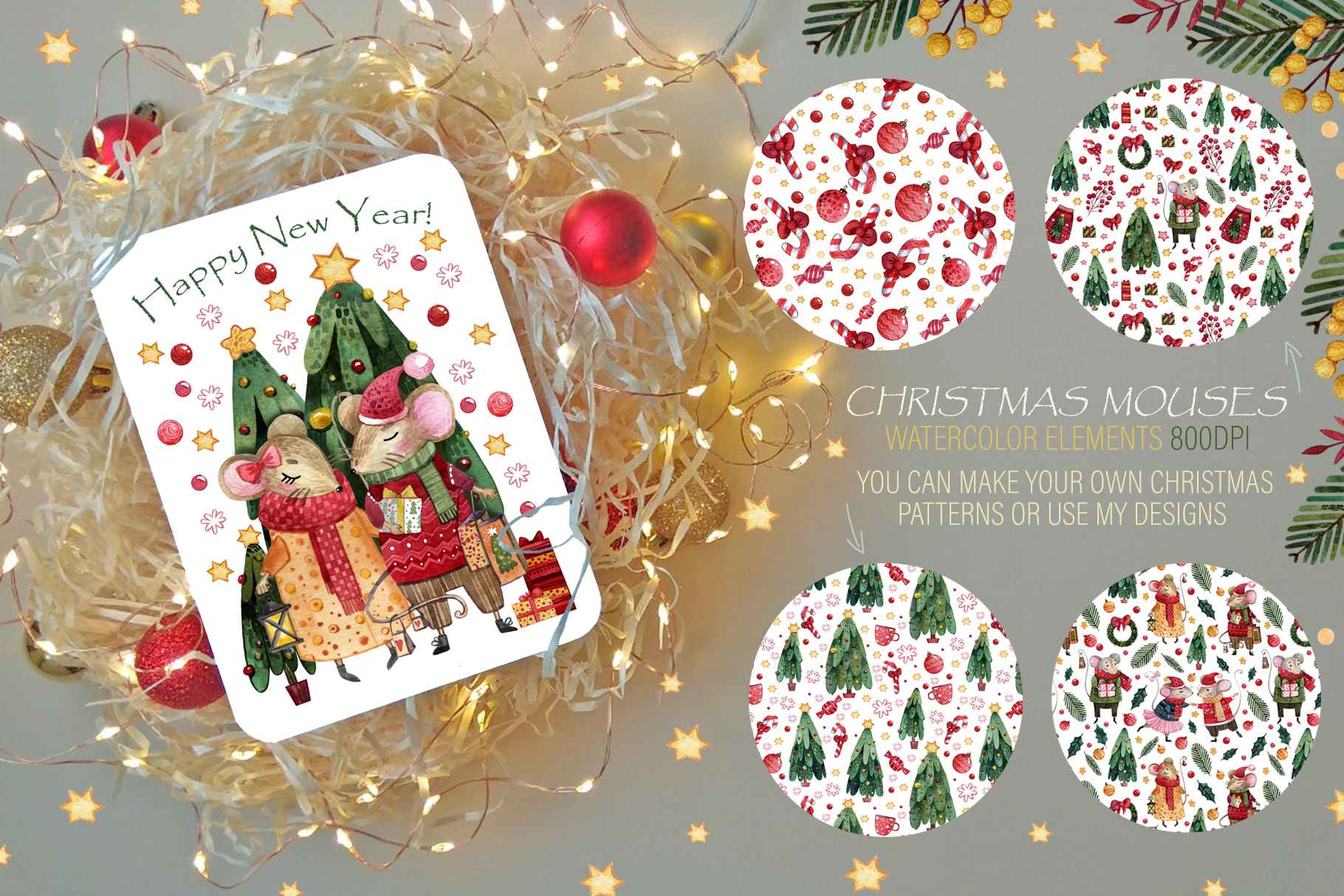Christmas mouses watercolor collection example image 6