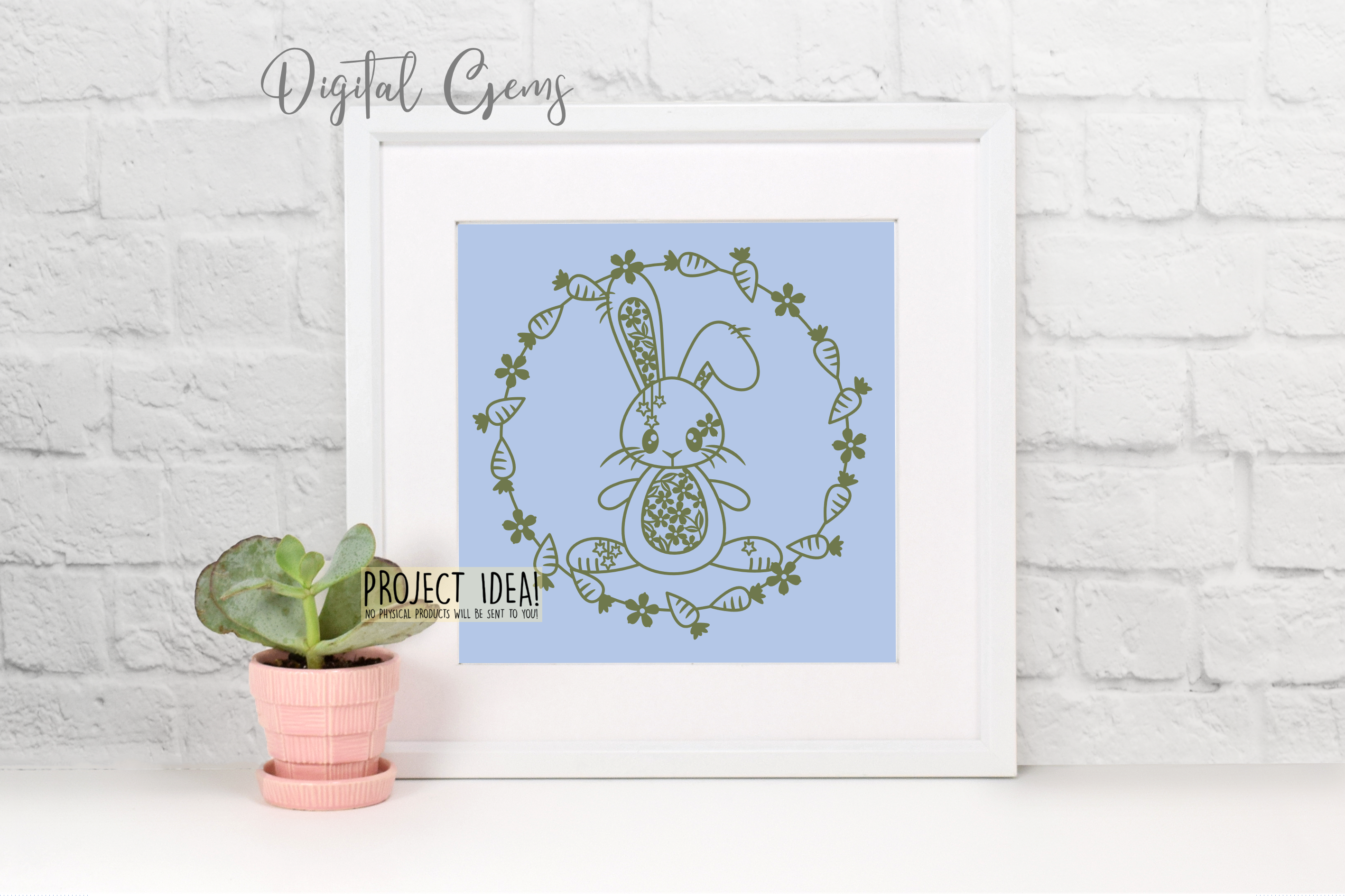 Rabbit paper cut design. SVG / DXF / EPS files example image 2