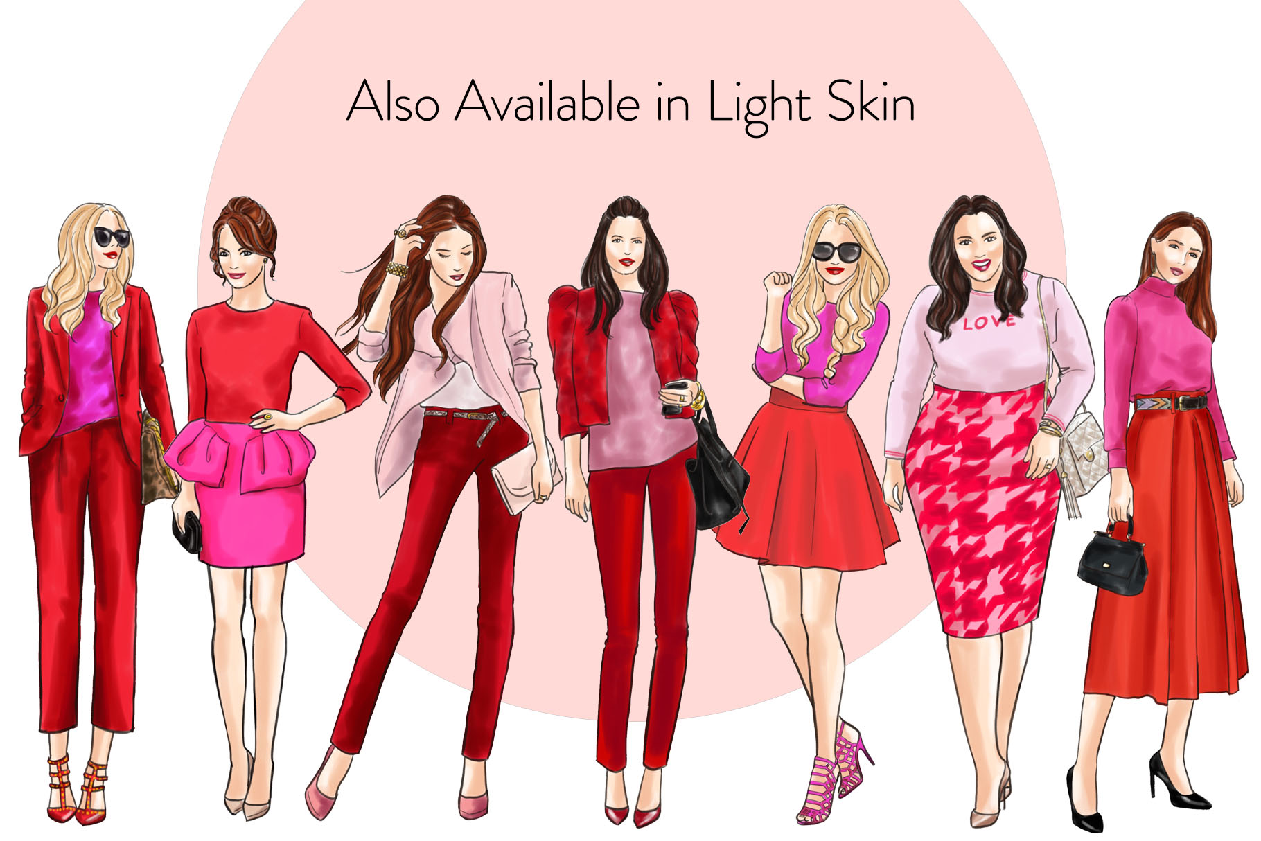 Fashion illustration clipart-Girls in Red and Pink-Dark skin example image 4