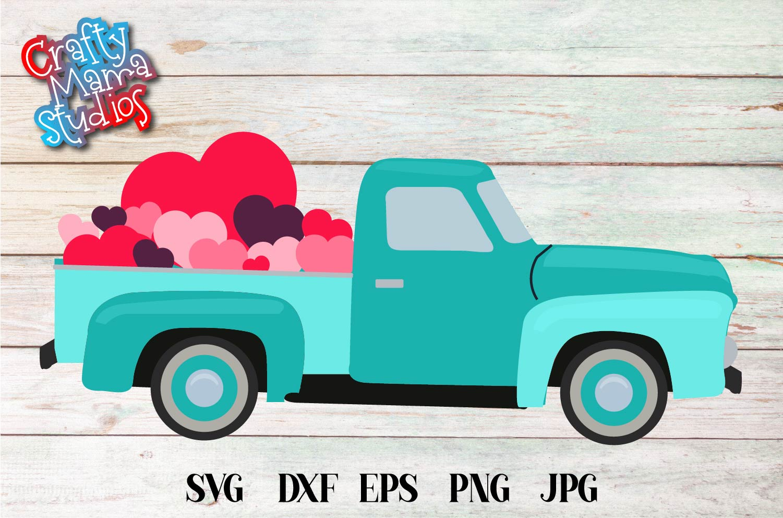 Valentine's Day SVG Valentine Vintage Truck Sublimation example image 2
