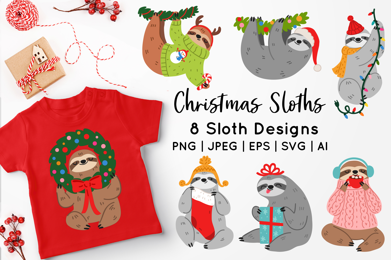 Christmas Sloths Vector Art example image 1