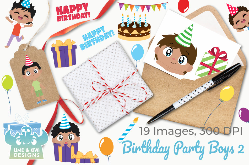 Birthday Party Boys 2 Clipart, Instant Download Vector Art example image 4