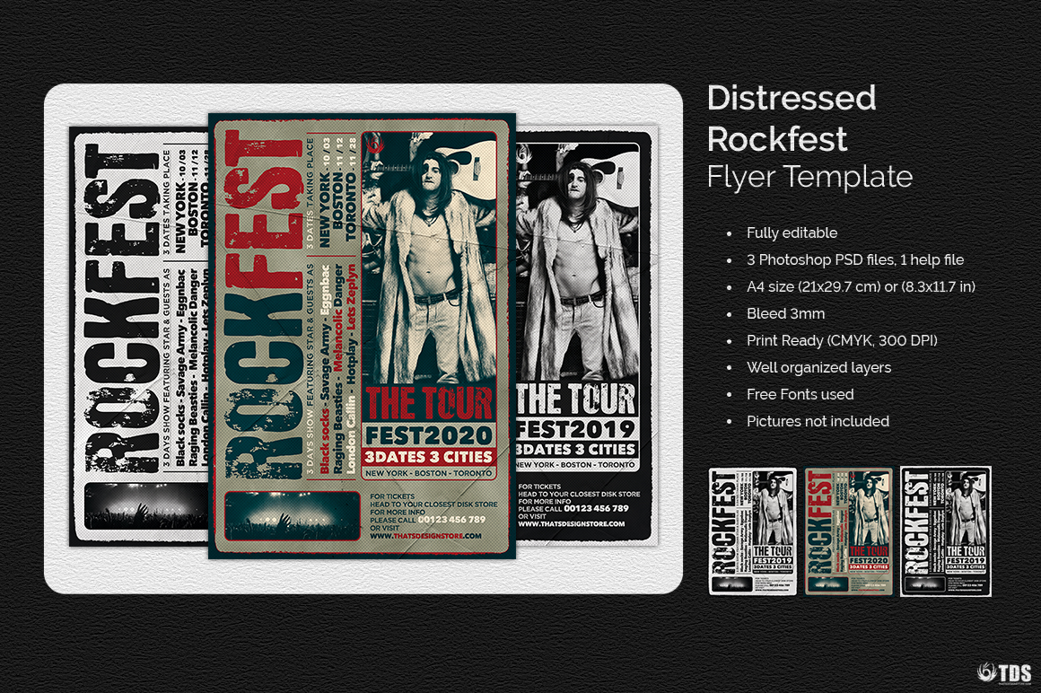 Distressed Rockfest Flyer Template example image 2