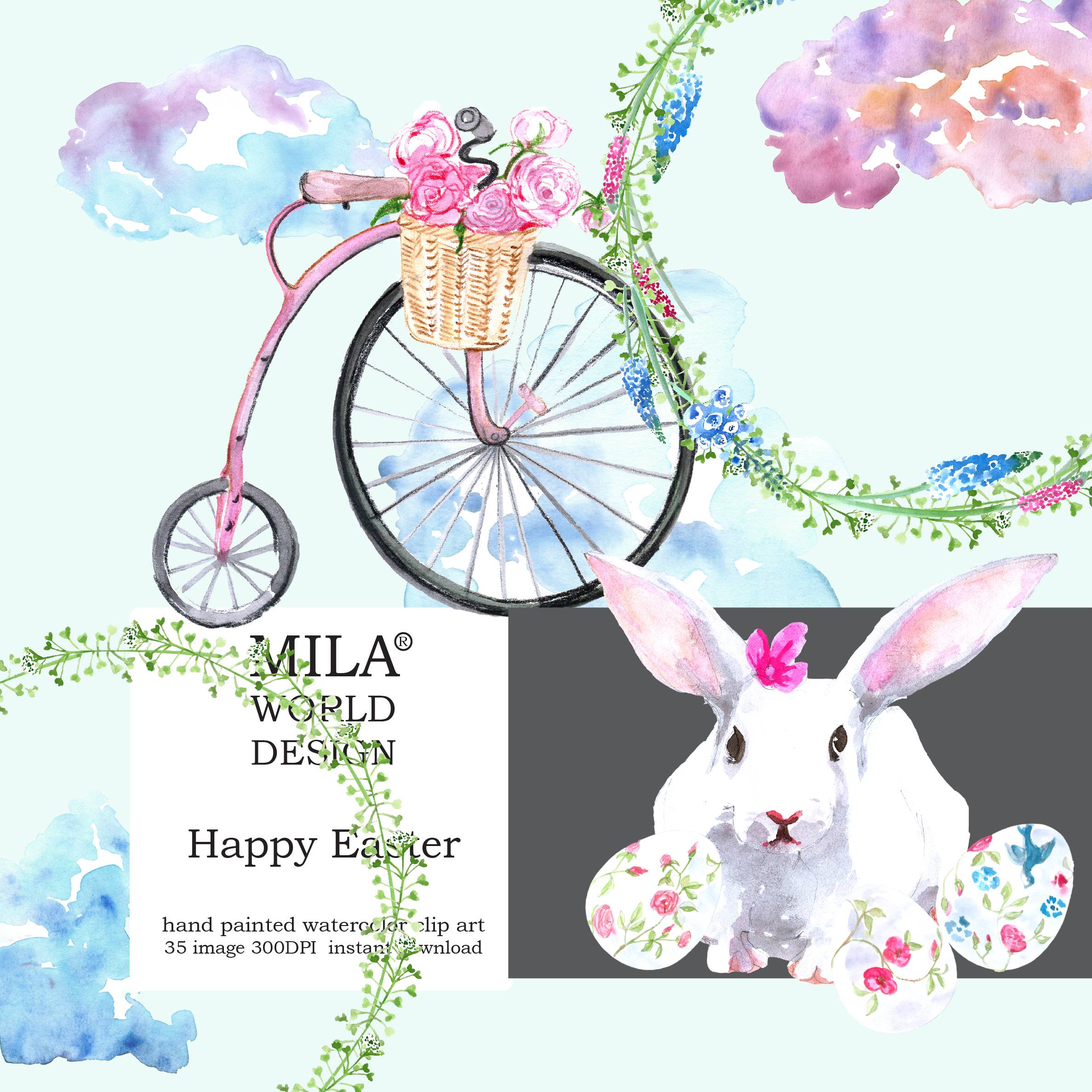 Watercolor Easter clipart example image 9