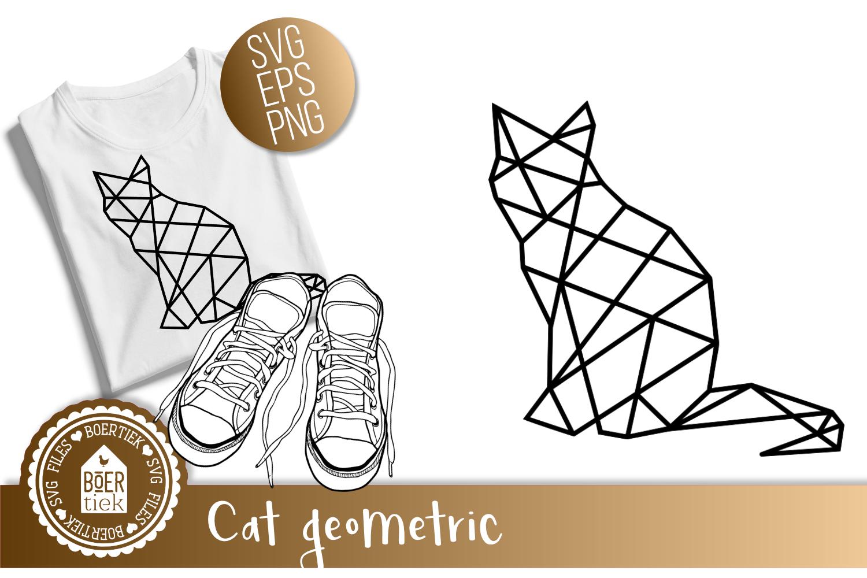 Cat geometric, SVG cutting file example image 1