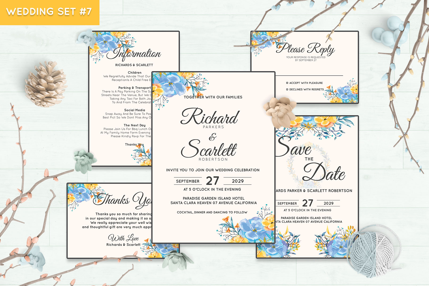 Wedding Invitation Set #7 Watercolor Floral Flower Style example image 1
