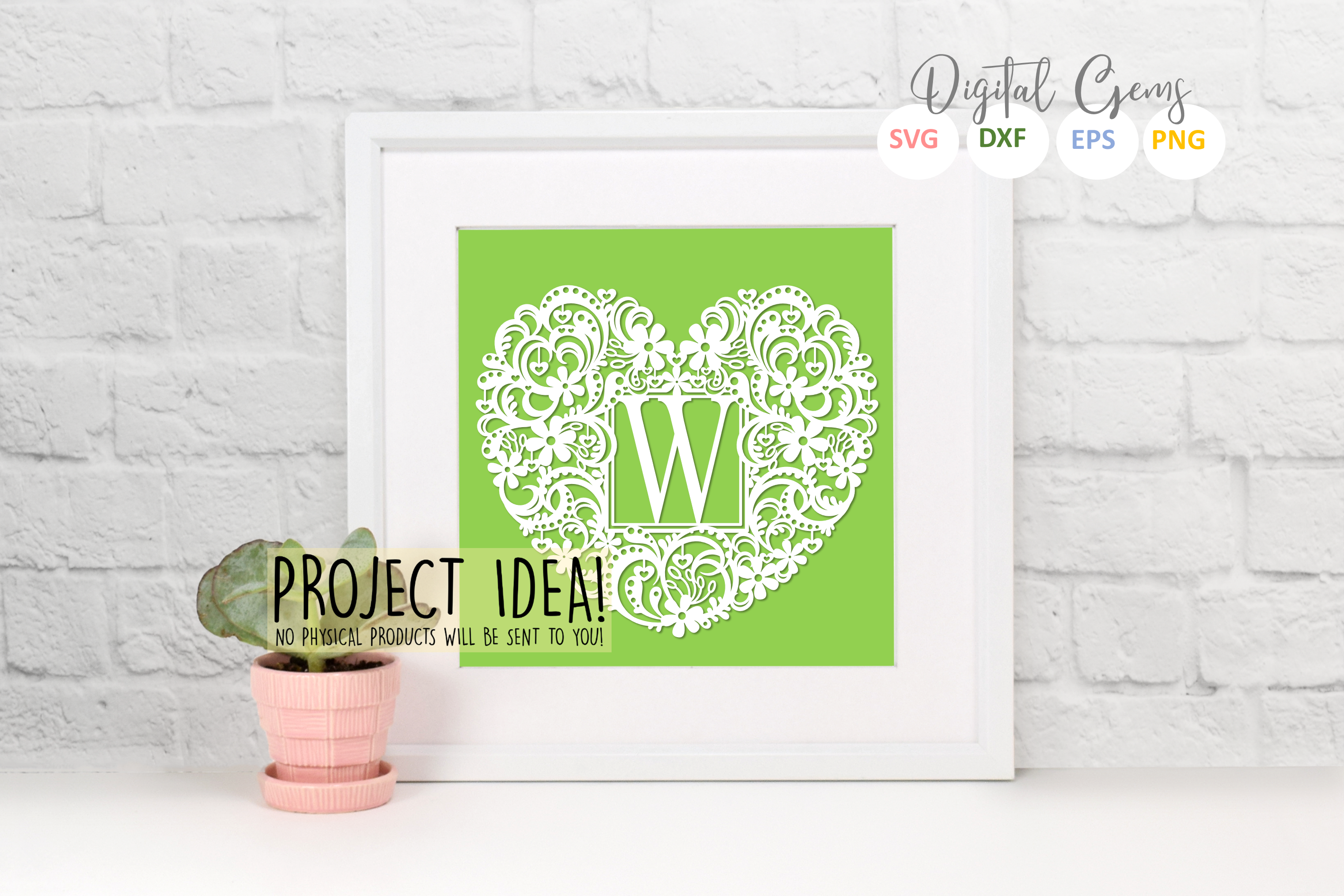 Letter W paper cut design. SVG / DXF / EPS / PNG files example image 2