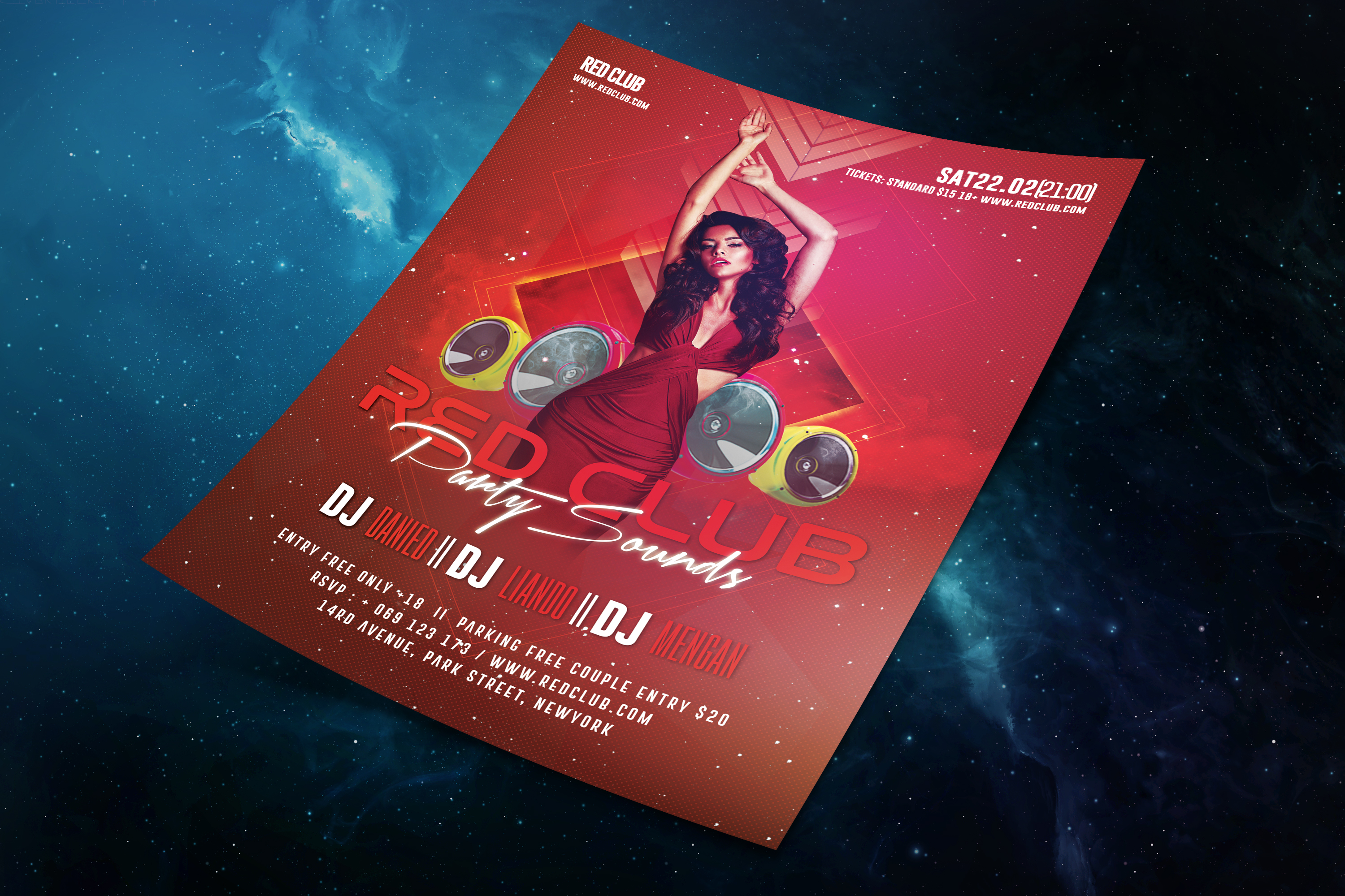 Red Club Party Sounds Flyer Template example image 5