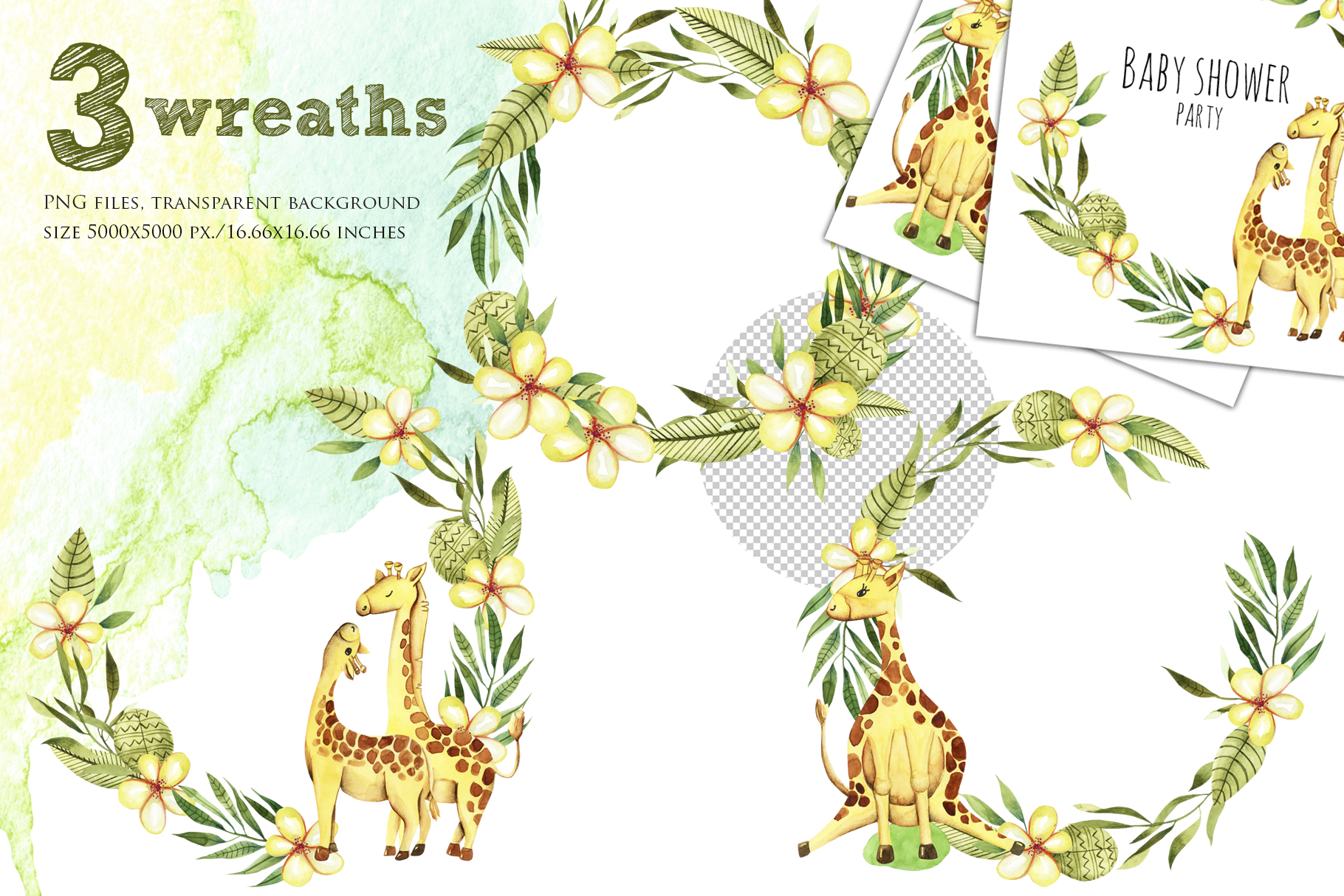 Giraffes. Watercolor clipart. example image 3