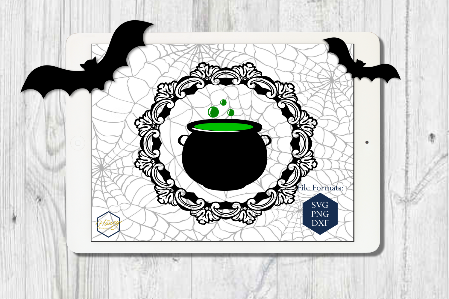 Halloween Set SVG PNG DXF Spider Bats Skull Potion Witch example image 2