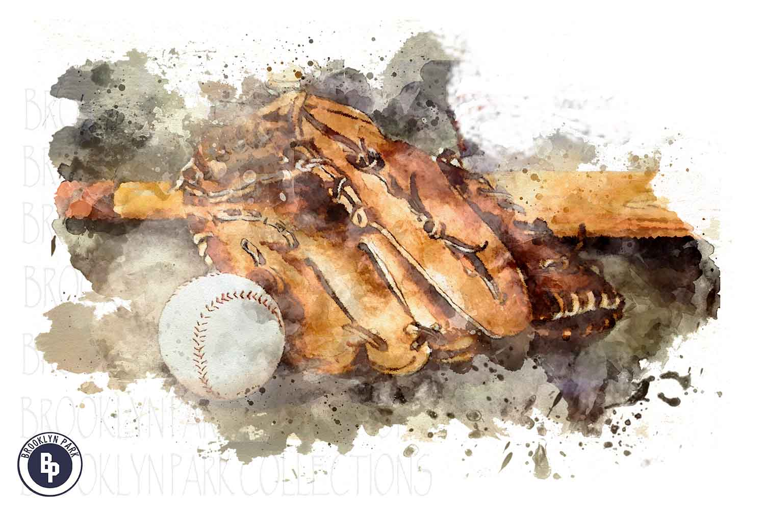 Watercolor Baseball Art Design, Sublimation PNG example image 1