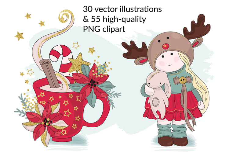 BEST WISHES Christmas Vector Illustration Pattern Animation example image 2