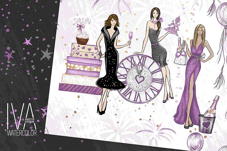 New Year's Eve Digital Paper Pack, Fashion Illustration example image 3