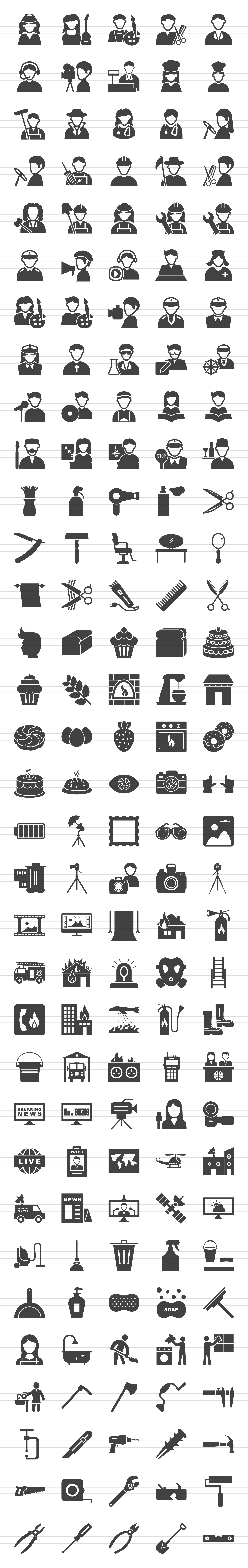 166 Professionals & their tools Glyph Icons example image 2