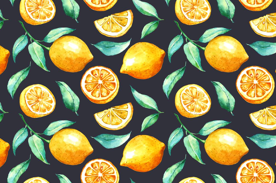 Watercolor lemon set example image 9