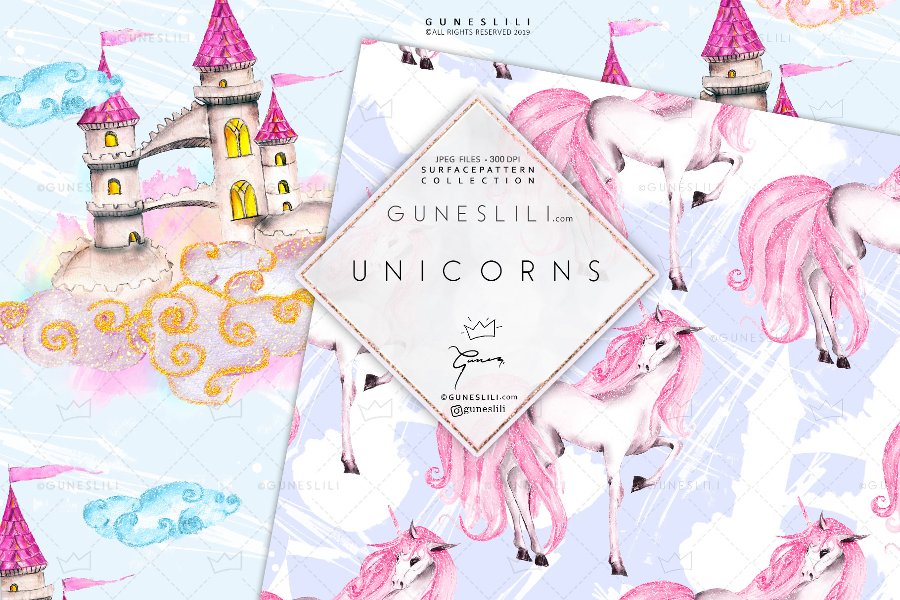 Pastel Unicorn Digital Pattern Pack Watercolor example image 2