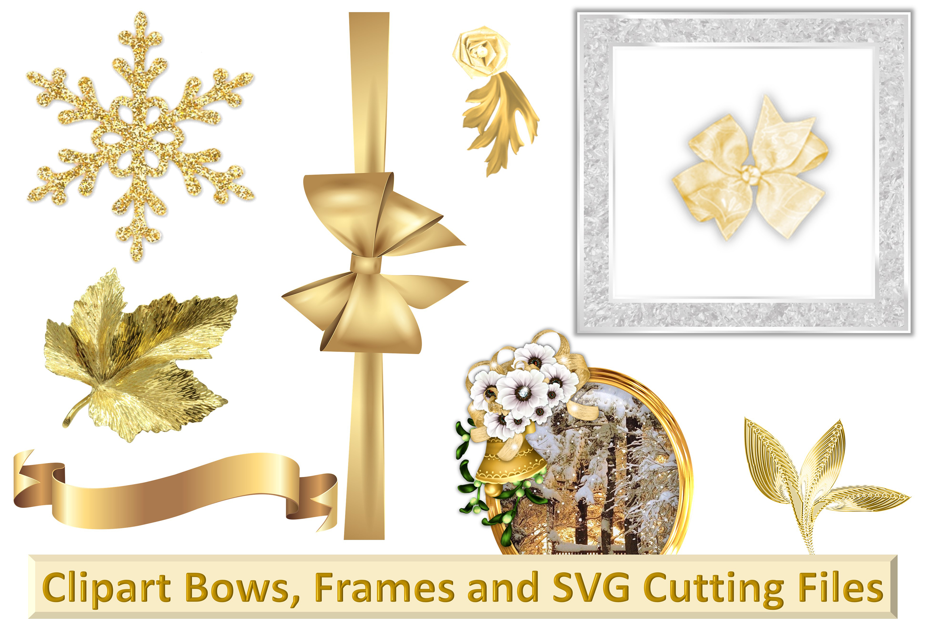 Christmas Clipart Bundle Commercial Use with FREE card kit example image 2